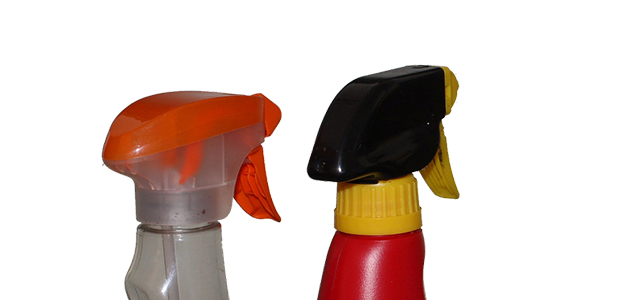 cleaning products against white background