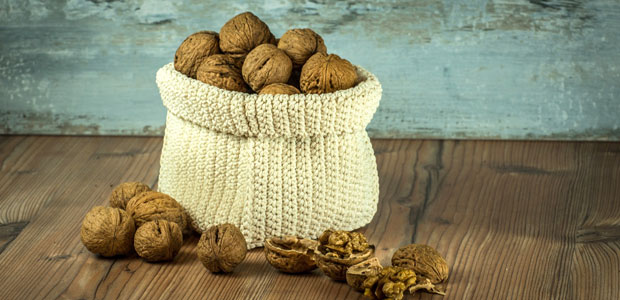 woollen nut sack full of nuts